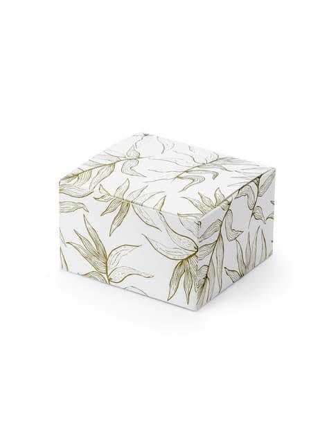 10 cajas de regalo blancas con hojas doradas - comprar
