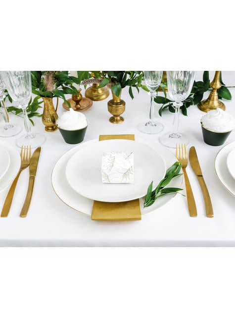 10 białe pudełka na upominki w złote liście