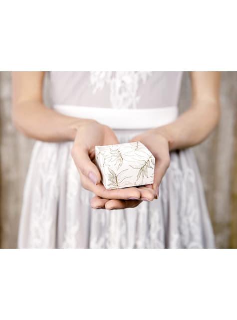 10 boîtes cadeaux blanches feuilles dorées