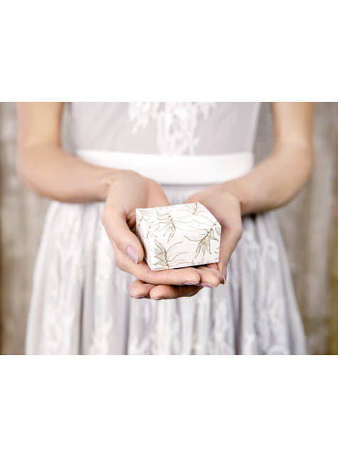 10 cajas de regalo blancas con hojas doradas - para tus fiestas