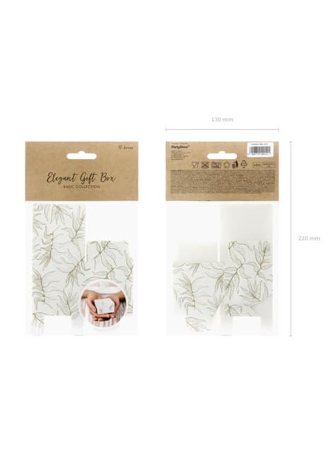 10 cajas de regalo blancas con hojas doradas - barato