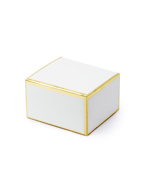 10 białe pudełka na upominki ze złotym obramowaniem
