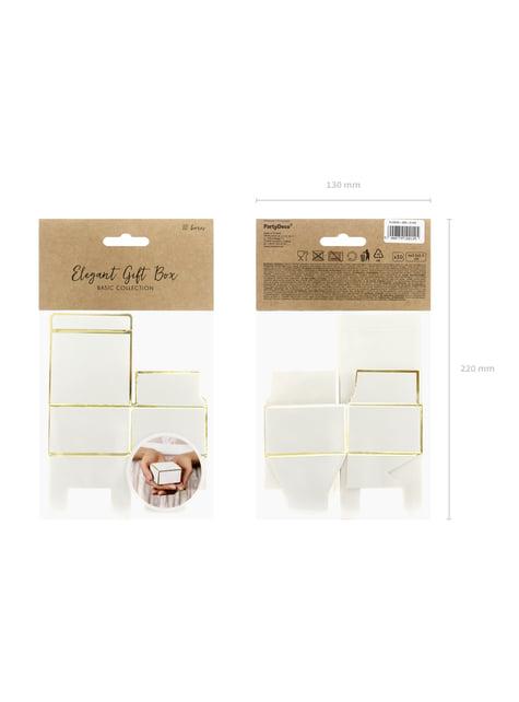 10 boîtes cadeaux blanches avec bords dorés