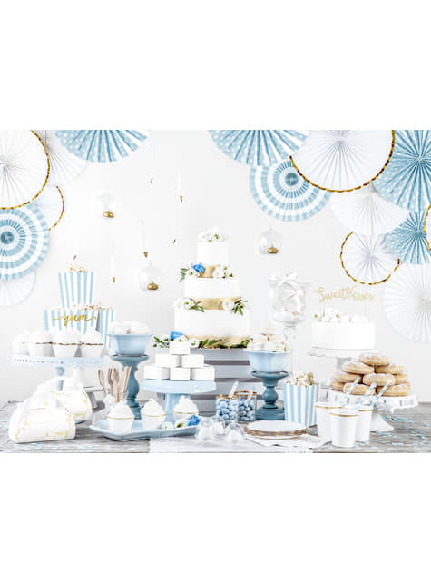 3 cloches à gâteaux individuelles - Dusty Blue
