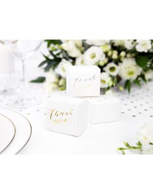"10 бели подаръчни кутии със златист надпис ""Thank You""– White & Gold Wedding"