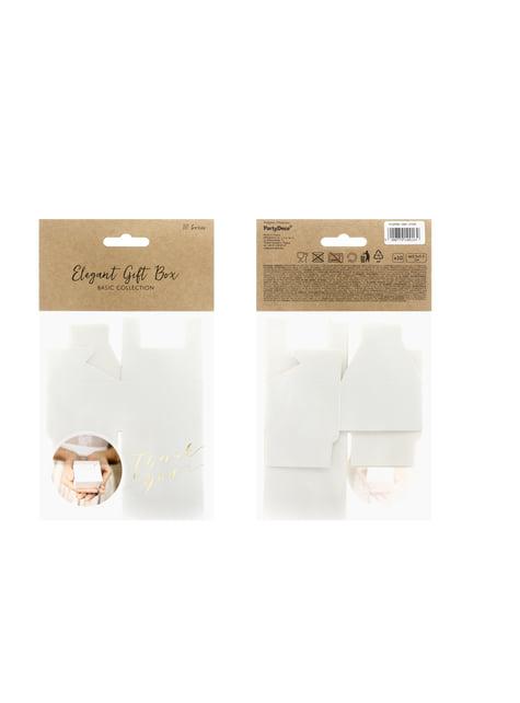 10 cajas de regalo blancas con texto dorado