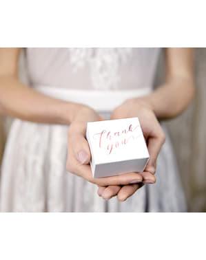 10 scatole regalo bianche con testo color oro rosa