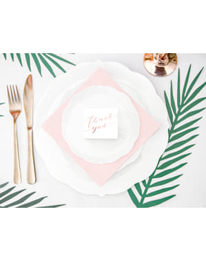 "Set 10 bílých dárkových krabiček s růžovozlatým nápisem ""Thank You"" - Tropical Wedding"