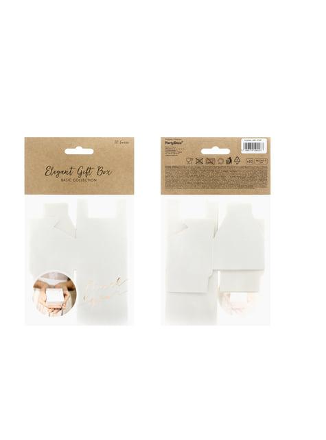 10 białe pudełka na upominki z napisem