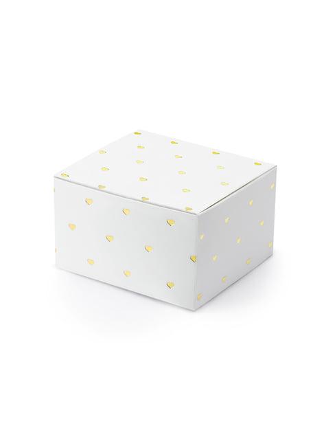 10 boîtes cadeaux blanches avec cœurs dorés