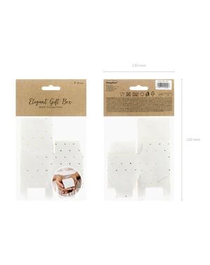 סט 10 קופסאות מתנה לבן עם לבבות זהב