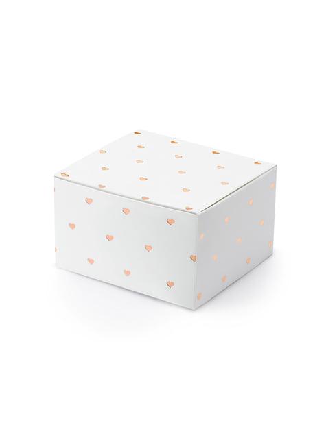 10 cajas de regalo blancas con corazones oro rosa