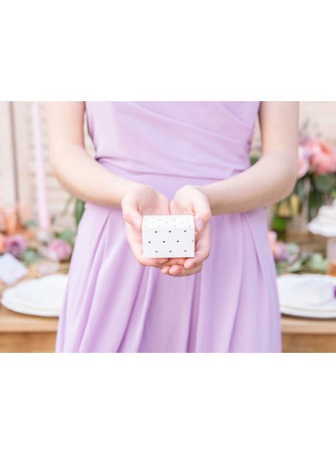 10 boîtes cadeaux blanches avec cœurs rose gold