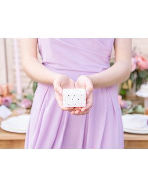 Set 10 bílých dárkových krabiček s růžovozlatými srdci