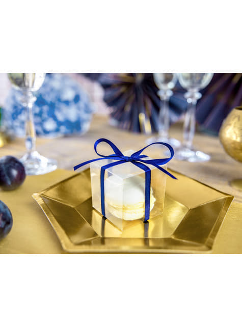 10 boîtes carrées transparentes - Gold Wedding