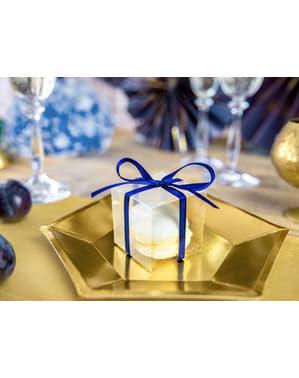 10 przezroczyste kwadratowe pudełka na upominki - Gold Wedding