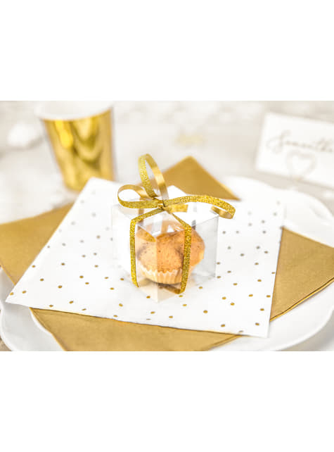 10 cajas cuadradas transparentes - Gold Wedding