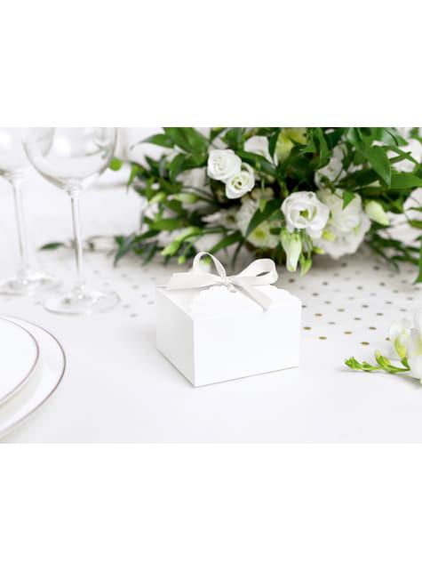 10 cajas de regalo blancas con borde redondeado