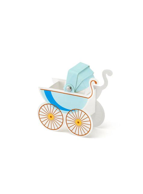 10 boîtes cadeaux en forme de poussette bébé bleue - It's a Boy Collection