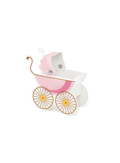 10 boîtes cadeaux en forme de poussette bébé rose - It's a Boy Collection