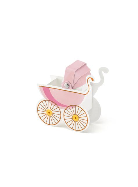 10 cajas de regalo con forma de coche de bebé rosa - It's a Girl Collection