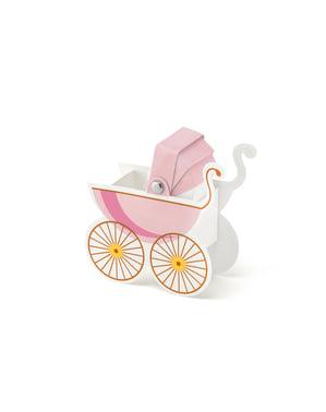 10 różowe pudełka na upominki w kształcie wózka dziecięcego - It's a Girl Collection