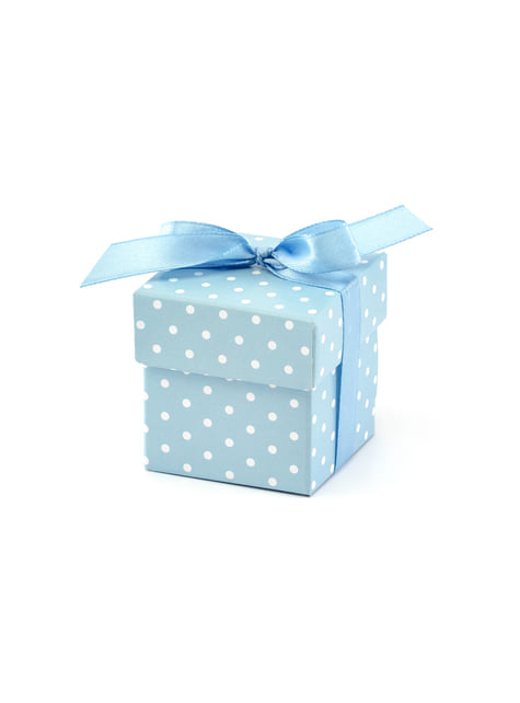 10 gift boxes in blue with white polka dots