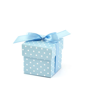10 сини подаръчни кутии на бели точки