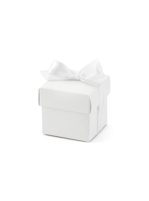 10 boîtes cadeaux blanches avec nœud - First Communion