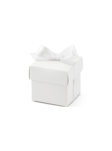 10 gift boxes in white with bow - First Communion