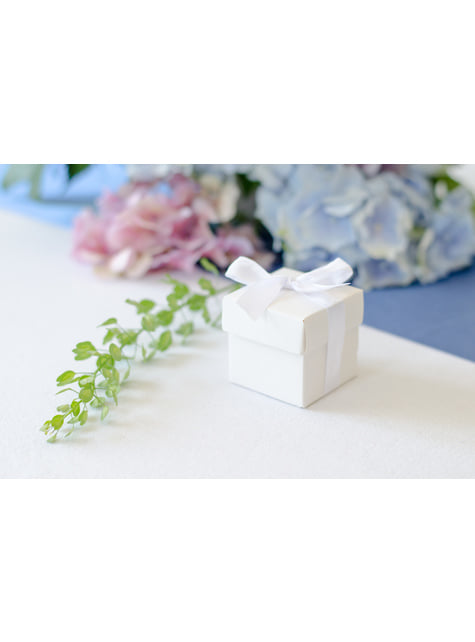 10 cajas de regalo blancas con lazo - First Communion
