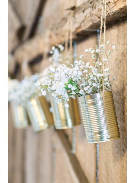 5 boîtes de conserves dorées pour la voiture des mariés - Rustic Wedding