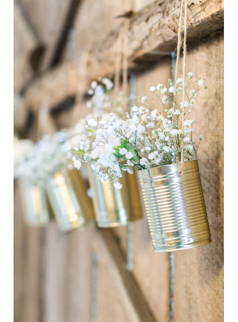 5 bridal car cans in gold - Rustic Wedding