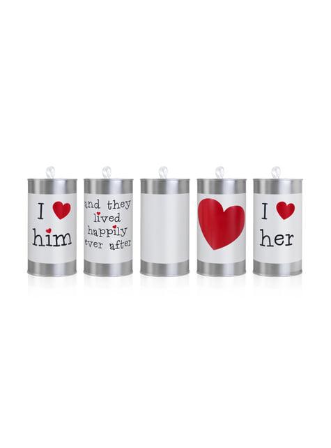 Conjunto de 5 latas para carro de casamento
