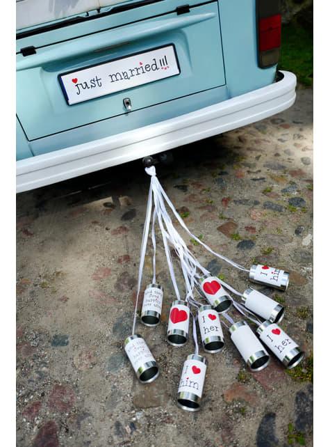 5 boîtes de conserves pour la voiture des mariés