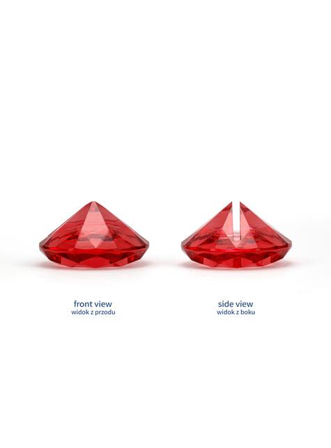 10 punaista timantin muotoista nimikortinpidikettä