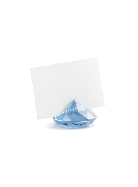 10 taivaansinistä timantin muotoista nimikortinpidikettä