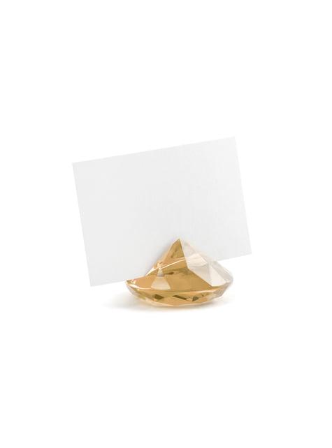 10 kultaista timantin muotoista nimikortinpidikettä