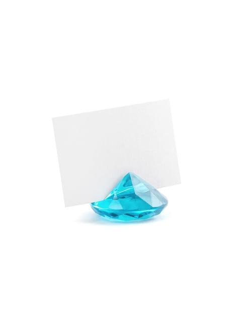 10 sujeta marcasitios azul turquesa con forma de diamante