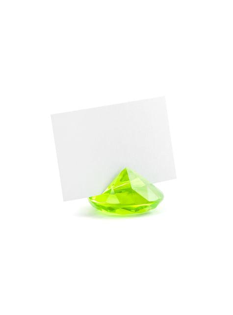 10 vaaleanvihreää timantin muotoista nimikortinpidikettä