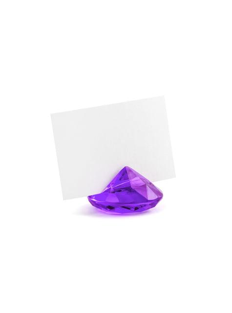 10 purppuraista timantin muotoista nimikortinpidikettä