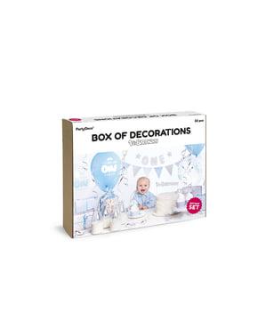 Zestaw niebieskich dekoracji
