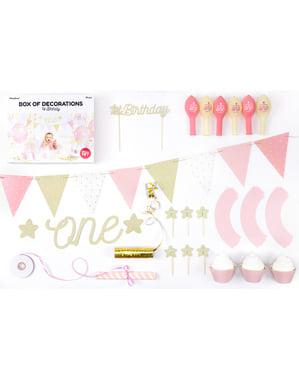 """Party dekorační set """"1st Birthday"""" v růžové barvě - 1st Birthday"""