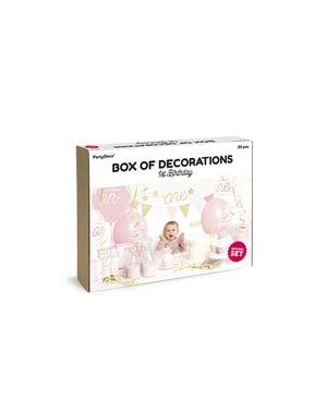 """Komplet """"1. rojstni dan"""" v rožnati barvi - 1. rojstni dan"""