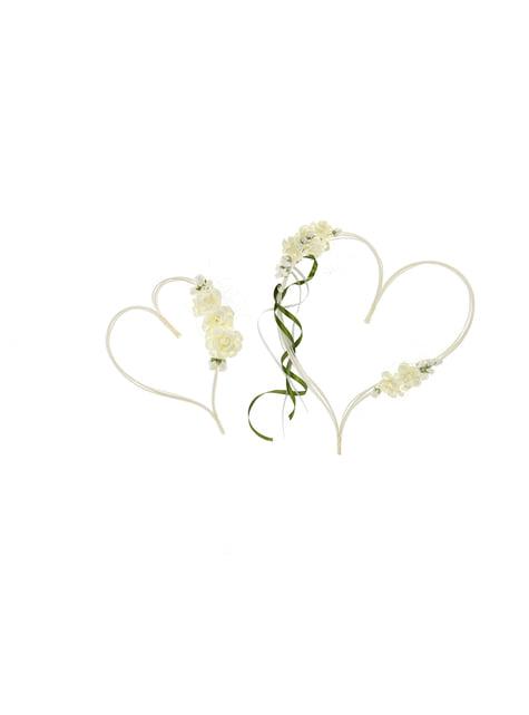 2 cœurs beiges et verts décoration pour voiture de la mariée
