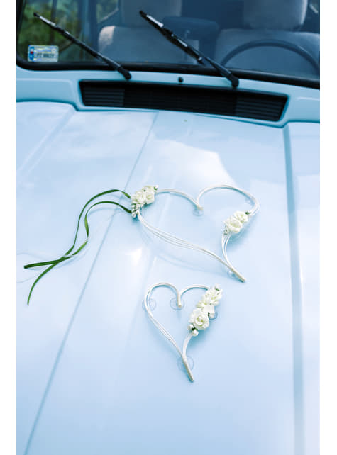 2 bridal car hearts decorations in beige and green