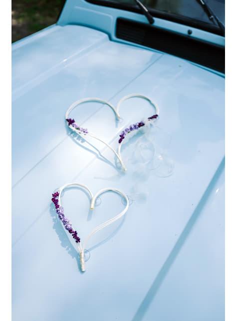 2 cœurs blancs et violets décoration pour voiture de la mariée