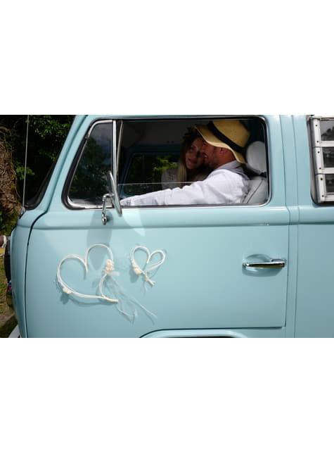 2 cœurs beiges décoration pour voiture de la mariée