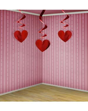 3 hangende spiralen in rood met hartjes - Valentijnsdag
