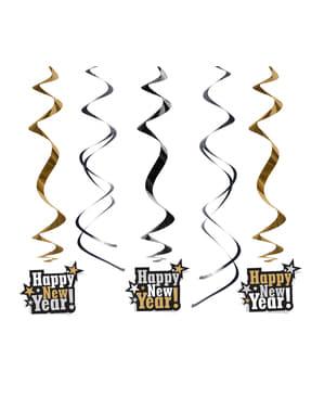 5 espirales colgantes negros y dorados para nochevieja